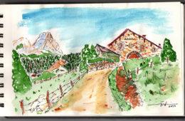 Acuarela desde el Gorbeia por Iñaki Makazaga